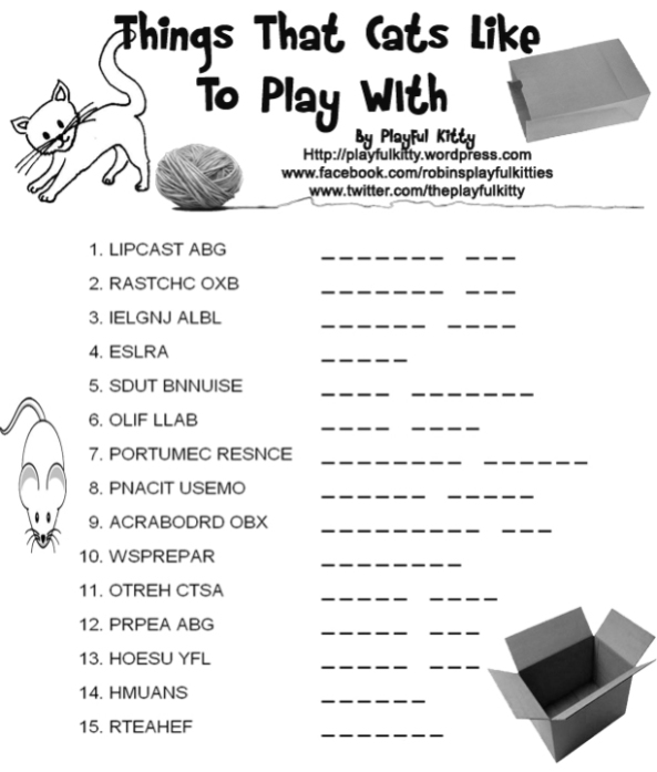 Word Scramble - Things Cats Like to Play With