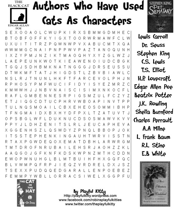 Authors Who Have Used Cats As Characters Word Search