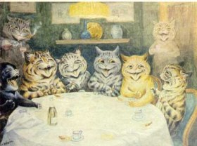 Louis Wain Cats at a table
