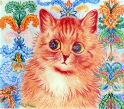 Louis Wain Cat with Patterned Background