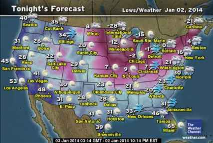Cold Weather Cat Tips USA Temperature Map