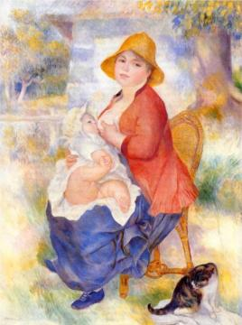 Cats in Art Renoir motherhood-woman-breast-feeding-her-child-1886