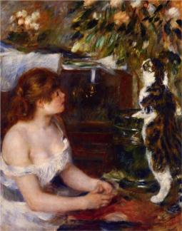 Cats in Art Renoir Girl and Cat 1882