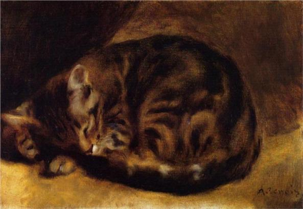 Cats in Art Renoir  Sleeping Cat 1862