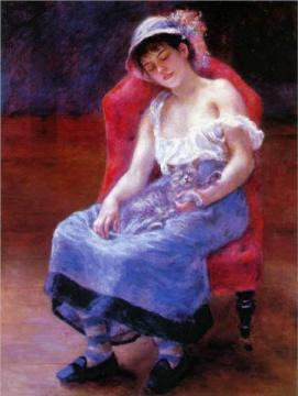 Cats in Art Renoir sleeping-girl-girl-with-a-cat-1880